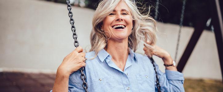 senior woman on swing