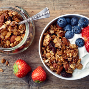 granola, yogurt, and fruit