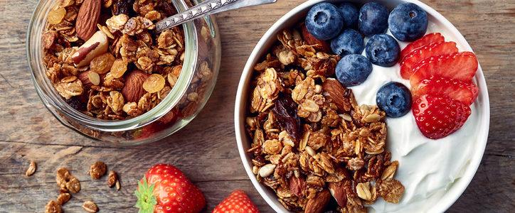 granola, yogurt, and fruit